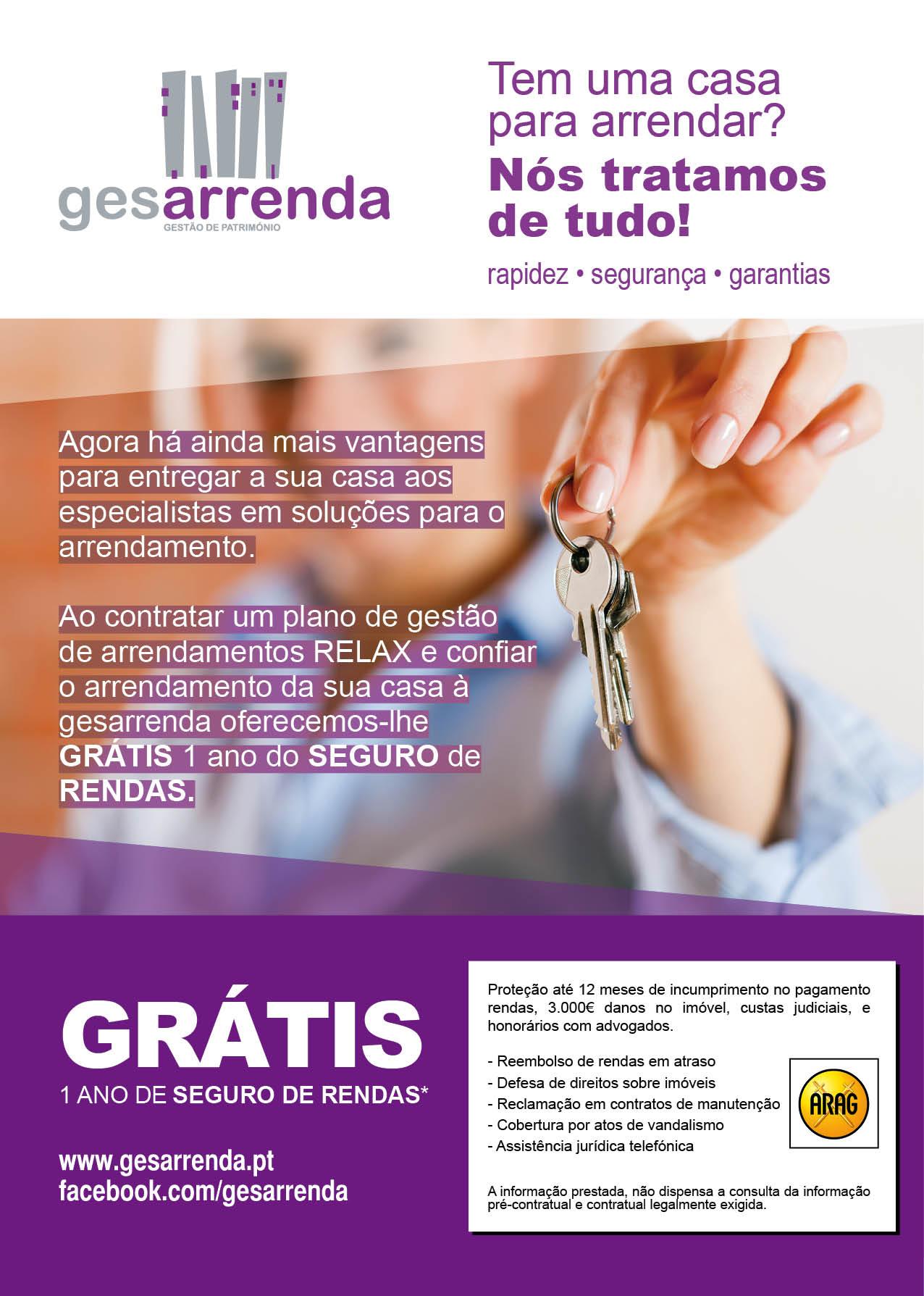 GESARRENDA oferece 1 ano seguro de rendas